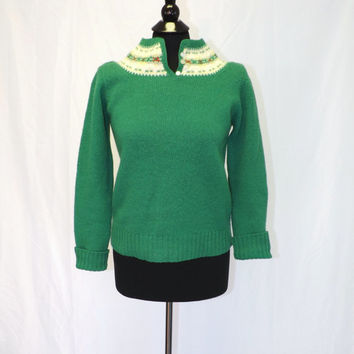 Vintage Retro 1970s Susan Bristol Knit Shetland Wool Sweater Green Small Hipster Ski Sweater Nordic Scandinavian Sailor