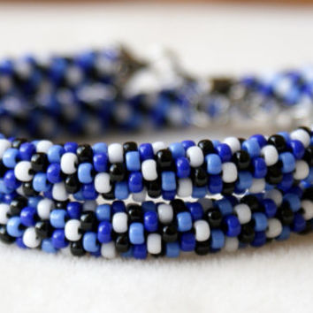 Beaded crochet necklace, rope, silver, blue, sapphire, placid blue, black, white, gift idea, one of a kind, seed bead jewelry