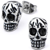 Inox 316L Stainless Steel Cracked Skull Stud Earrings | Body Candy Body Jewelry