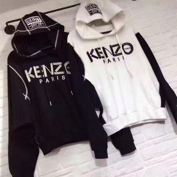 DCCKH3L Kenzo' Women Sport Casual Multicolor Letter Pattern Long Sleeve Loose Hooded Sweater Tops