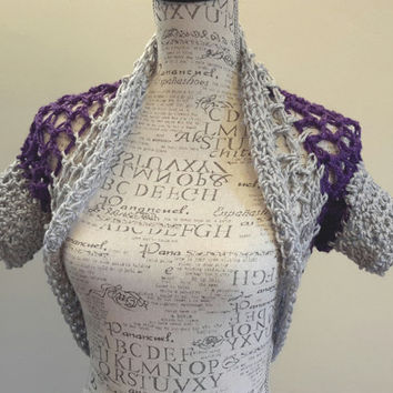 Crochet purple and gray Shrug. Made by Bead Gs on ETSY. Size small. Purple and gray Bolero. Grey shrug