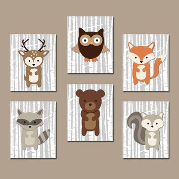 WOODLAND Nursery Art, Woodland Nursery Decor, Wood Forest Animals Wall Art, Woodland Theme Birthday Gift, Canvas or Prints, Set of 6