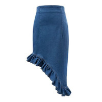 Summer Women's Fashion High Rise Irregular Denim Slim Skirt [4920250052]