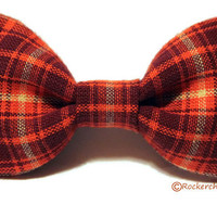 Plaid Hair Bow - Womens, Teen, Girls - Orange, Red, White - Grunge, Hipster, Gifts Under 10, Fall, Autumn