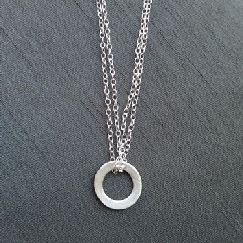 Circle of Life Pendant -Modern Geometric Necklace-Double Sterling Chain- Fine Silver (.999%) - Handmade Jewelry- Gifts for Women