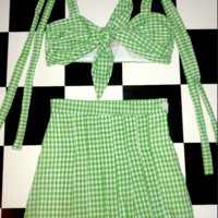 SWEET LORD O'MIGHTY! LEAF GINGHAM SKIRT