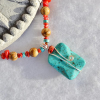 Turquoise and coral necklace, red coral jewelry, picture jasper, boho necklace, southwestern necklace, healing jewelry, western, winter find