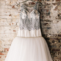 Lis: Short Lace Wedding Dress with Full Skirt Drop Waist Full Netting Skirt Lace Bodice with Sweetheart neck and low back Illusion Neckline