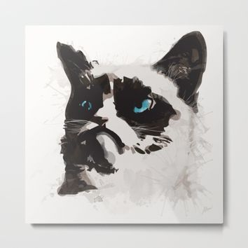 Cat that's Grumpy Metal Print by Allison Reich