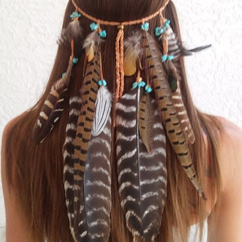 Boho Princess, Feather headband, native, american, style, indian headband, tribal, bohemian headband, hippie Headband, feather hair band