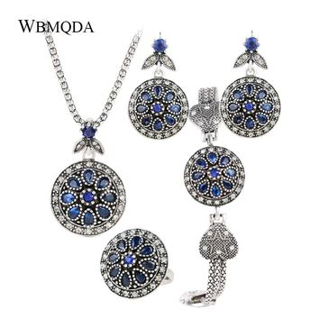 4Pcs/lot Classic Blue Flower Jewelry Sets Vintage Silver Crystal Heart Pentagram Charm Bracelet Necklace Ring Earrings For Women