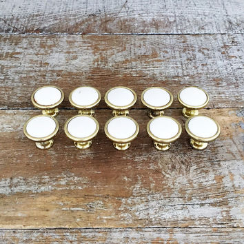 Drawer Pulls 10 Drawer Knobs Ceramic and Brass Knobs Mid Century Hardware Cabinet Door Pulls Dresser Drawer Knobs Decorative Knobs