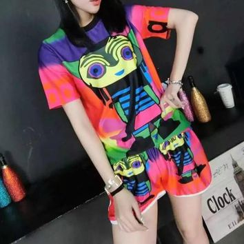 """Adidas"" Women Casual Multicolor Cartoon Robot Print Short Sleeve Shorts Set Two-Piece"