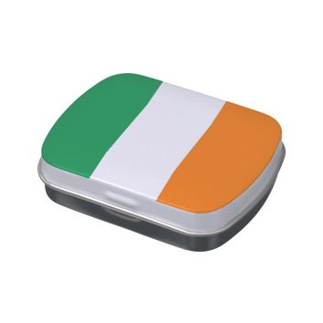 Patriotic candy tins with Flag of Ireland