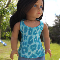 18 inch doll clothes, blue animal print halter style tank top  and  denim mini skirt, american girl, maplelea