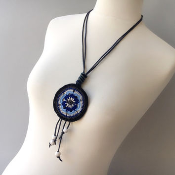 Crochet Necklace, Leather Necklace
