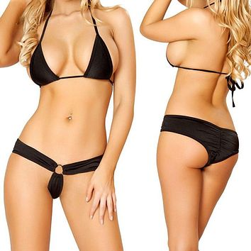 Black Triangle Top & Extreme Micro Front w/ Scrunch Rear Bottom Bikini Swimwear