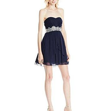 Speechless Juniors Strapless Short Party Dress with Jeweled Waistband