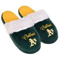 Oakland A's Athletics Womens Colorblock Fur Slide Slippers MLB New Style