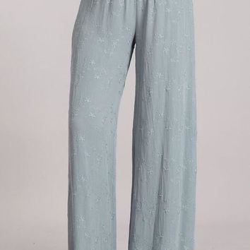 Chatoyant Embroidered Wide Leg Pants Steel Blue