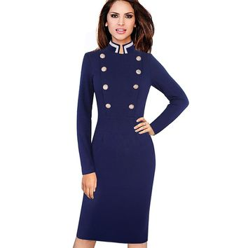Women Vintage Winter Long Sleeve Navy Blue Stand Collar Double-Breasted Button Business Work Bodycon Pencil Dress EB410