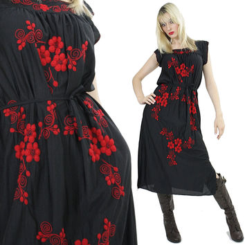 Floral embroidered  Mexican dress Red floral embroidery black dress tie waist sleeveless Boho hippie gypsy dress Festival S Small