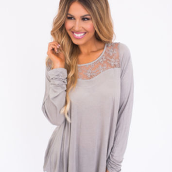 Lace Detail Long Sleeve Top- Grey