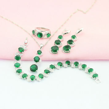 ASHLEY Emerald Green Stone Jewelry Sets For Women Silver Plated Earring/Pendant/Necklace/Ring/Bracelet Free Jewelry Box M-JSF001