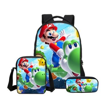 Super Mario party nes switch VEEVANV 3Pc Set Cartoon  Kids Backpacks Children School Shoulder Bags Boys Laptop Bookbag Girls Travel Daypack Casual AT_80_8