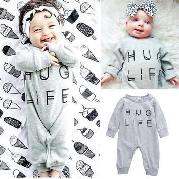 Newborn Infant Baby Boys Girls Clothes Gray Rompers Outfits Hug Life Letter Jumpsuit Playsuit Baby Clothes