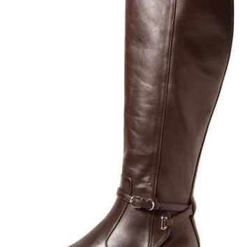 ONETOW balenciaga papier leather buckled knee high riding boot 2