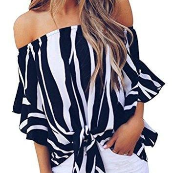 Fronage Womens Loose Striped Bell Sleeve Off Shoulder Blouse Front Tie Tops Casual TShirts Tees