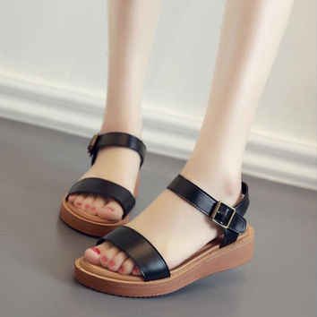 Leather Muffin Roman Sandals B0013885