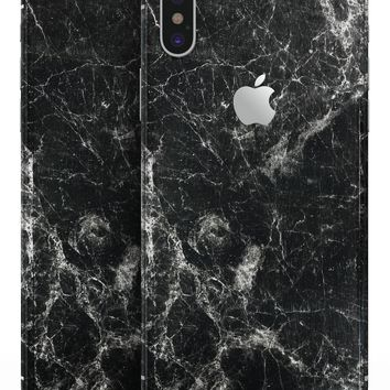 Black Scratched Marble - iPhone X Skin-Kit