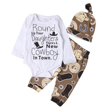 Infant Baby Clothing Sets Cowboy Newborn Baby Girl Boy Clothes Romper +pants+hat 3Pcs Suits Baby Girls Clothes