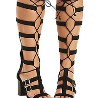 QUPID CHUNKY HEEL LACE-UP GLADIATOR SANDALS