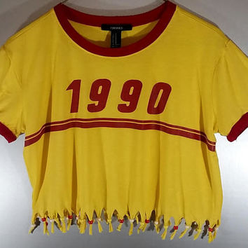 Womens Size Medium 1990 Fringed Crop Top Beaded Yellow Red Girls Birthday Graphic TShirt Tumblr Festival Rave Clothes Fun Vintage Vibe