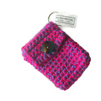 Crocheted Pouch Keychain - Neon Pink and purple - Item #20151014