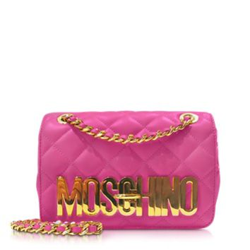 Moschino Designer Handbags Quilted Nappa Leather Golden Logo Shoulder Bag w/Chain