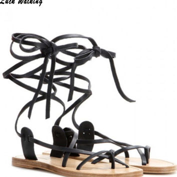 2015 celebrity brand new designer Faux Leather Strappy Roman Goth Gladiator Thong Lace Up Sandals Flat Shoes pluss ize35-40