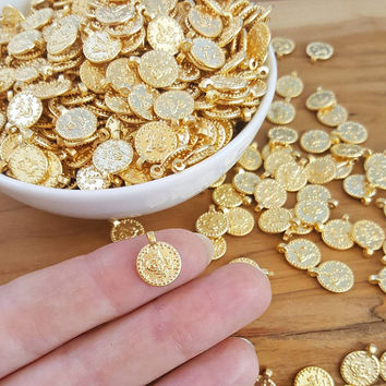 Dotted Rim Gold Coin Charms Ethnic Round Replica Coins Turkish Tughra Jewelry Supplies Findings 22k Matte Gold Plated Non Tarnish - 10pc