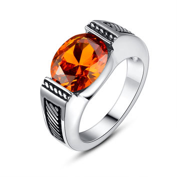 Stainless Steel Vintage Oval Orange-Red Cubic Zirconia Ring