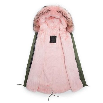 Pink lined Winter Faux Fur Parka Male Coats Long Style  Male Outwear Army Green coat Winter Parkas for Man Hooded
