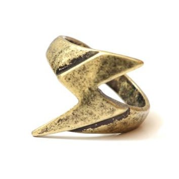 Lightning Bolt Ring Size 6.5 Antique Gold Tone Thunder Zap RJ07 Fashion Jewelry