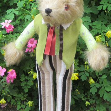 Coyote Dressed Animal Art Doll Toy Boy Girl Gift  Brown Plush Head Lime Green and  Brown Striped Clothing Tan Leather Shoes