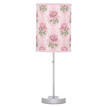 Shabby chic lovely pink rose table lamp