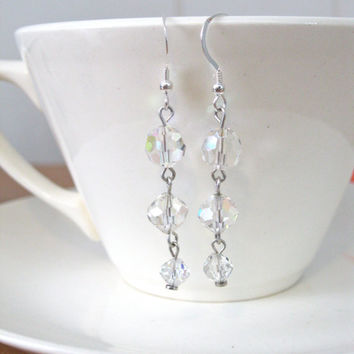 Crystal Dangle Earrings Handmade Jewelry Repurposed Up-cycled Wedding Accessory