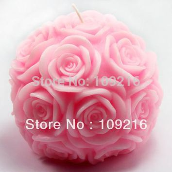 New Style 3D 9.6*8.6cm Rose Ball (LZ0092)  Silicone Handmade Candle/Soap Mold Crafts DIY Mold