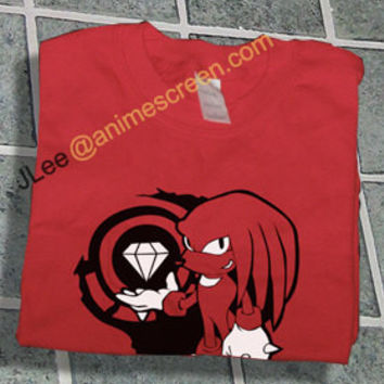 Sonic the Hedgehog Red Knuckles w/ Master Emerald shirt T-shirt tee Tshirt