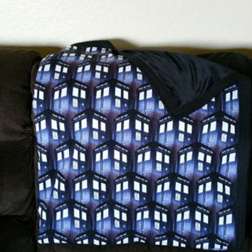 TARDIS from Dr Who printed fabric with minky on the back/throw blanket/kids blanket/Home Decor/ Bedroom / accessory